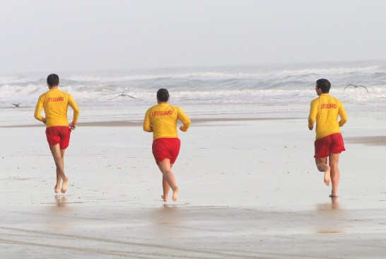 Lifeguards secure the beach